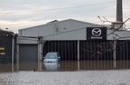 Mazda Garage in Layerthorpe from Foss Bank, York flooding, Dec 2015