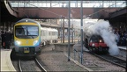 Tranpennine Express DMU and Flying Scotsman at York